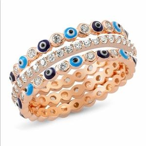 Evil Eye Ring Set- Rose Gold / Sterling Silver